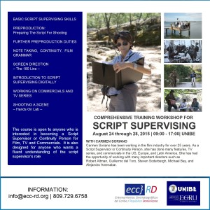 COMPREHENSIVE TRAINING WORKSHOP FOR  SCRIPT SUPERVISING